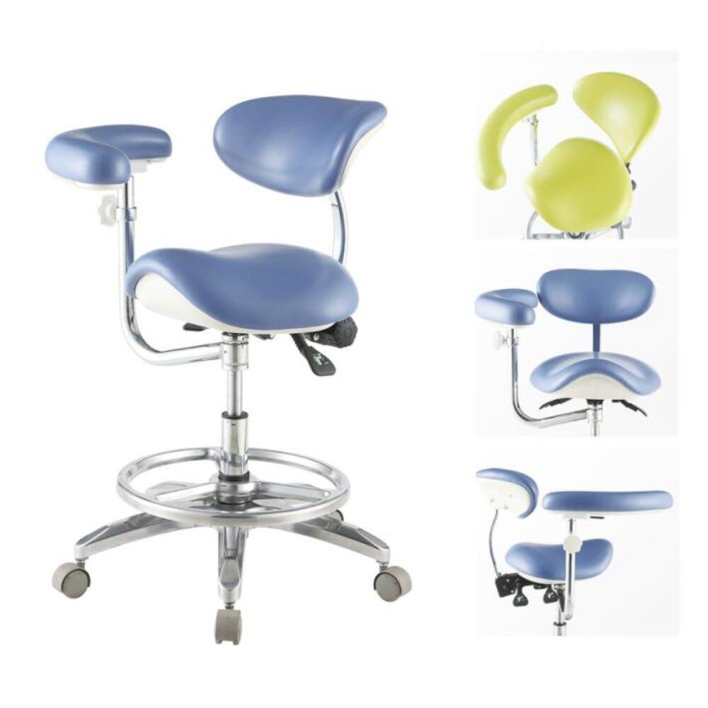 Ergonomic Dental Deluxe Mobile Saddle Seat Chair Saddle