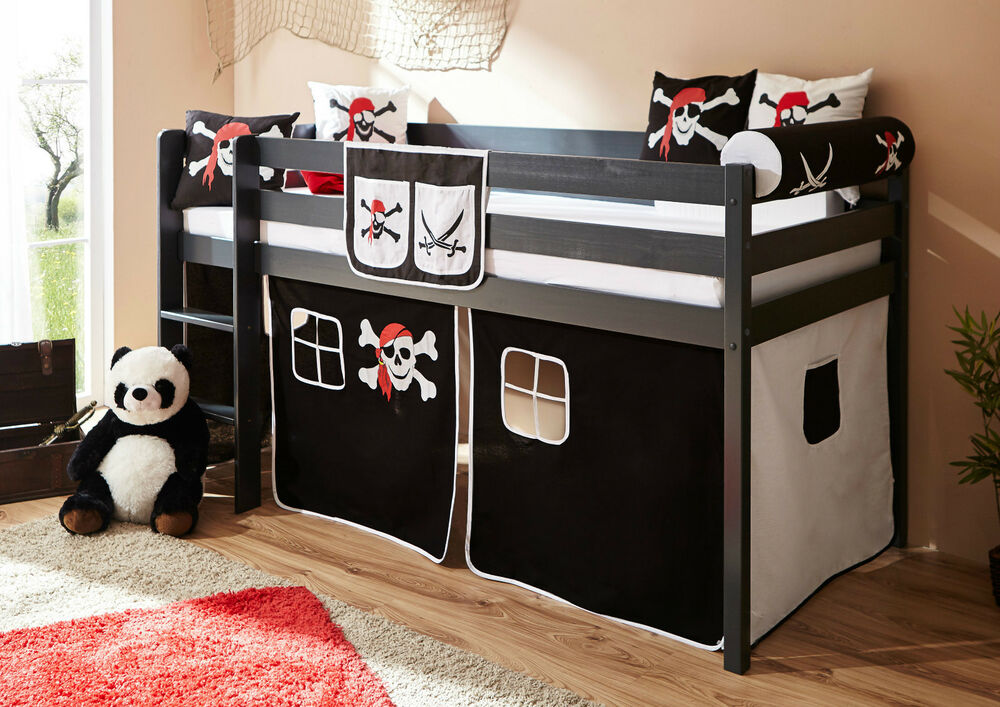 hochbett set malte kiefer massiv inkl vorhang pirat schwarz wei piratenbett ebay. Black Bedroom Furniture Sets. Home Design Ideas