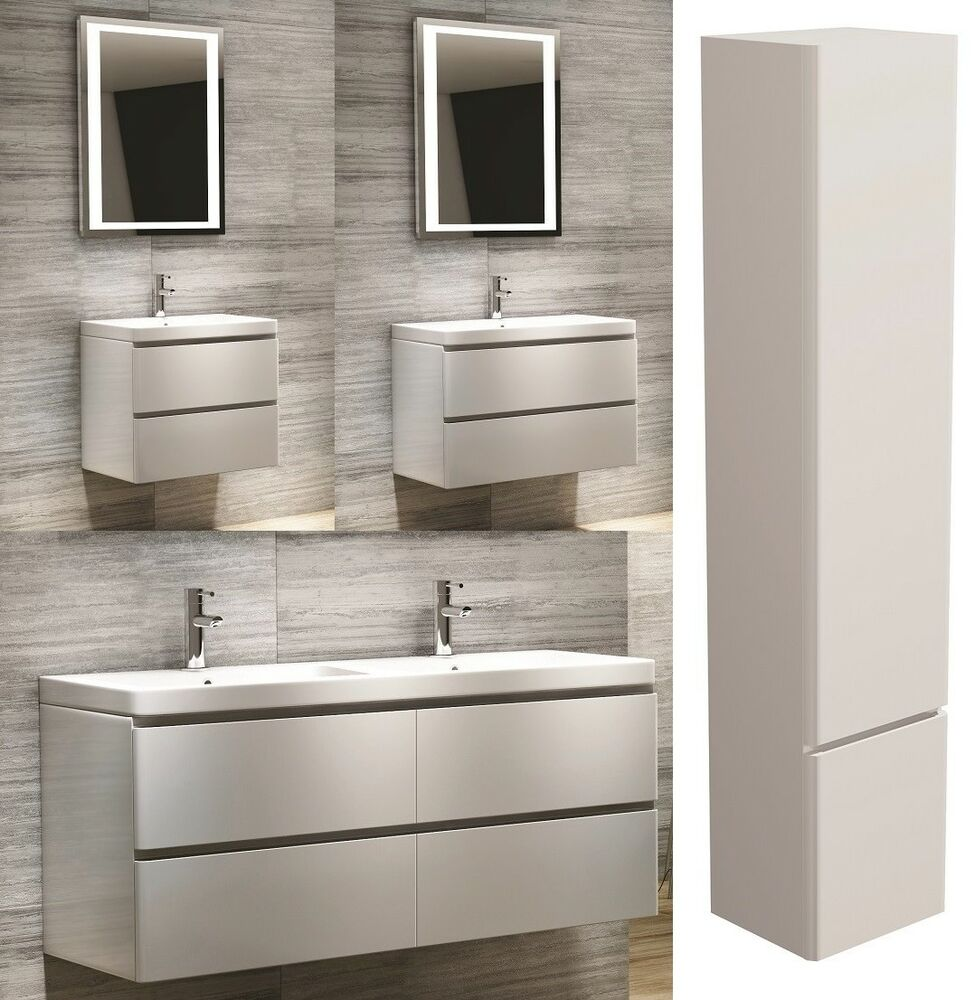 Modern Bathroom Vanity Unit Wall Hung White Basin Sink