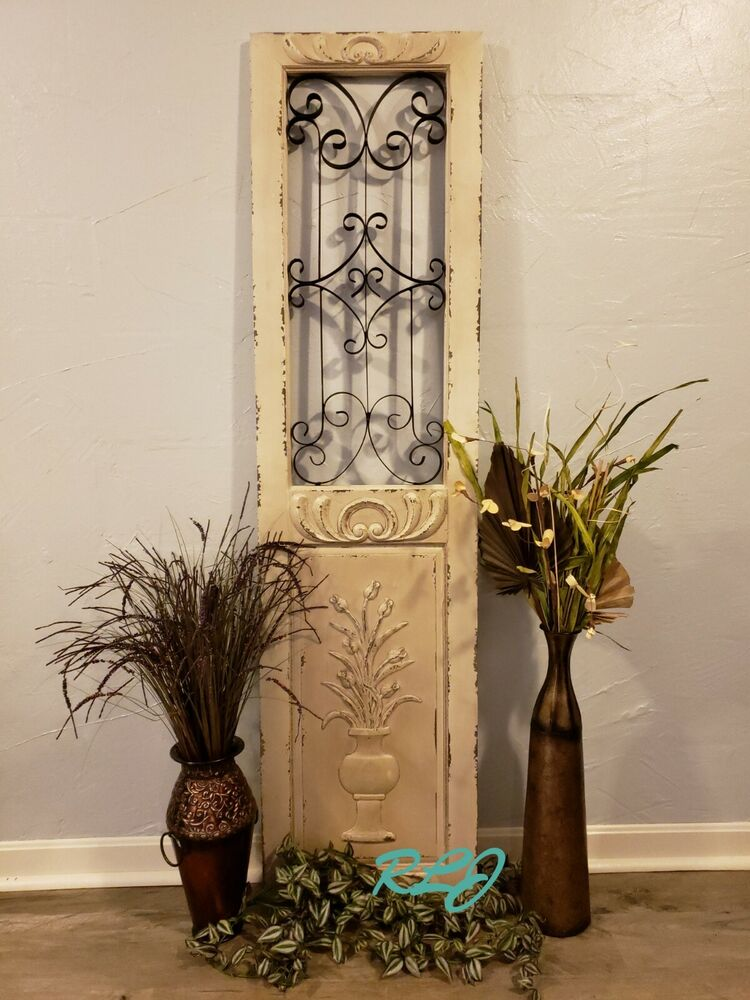 Antique Cream Wood Metal Wall Decor: Distressed Vintage Shabby Scrolling Wood Metal Garden Gate