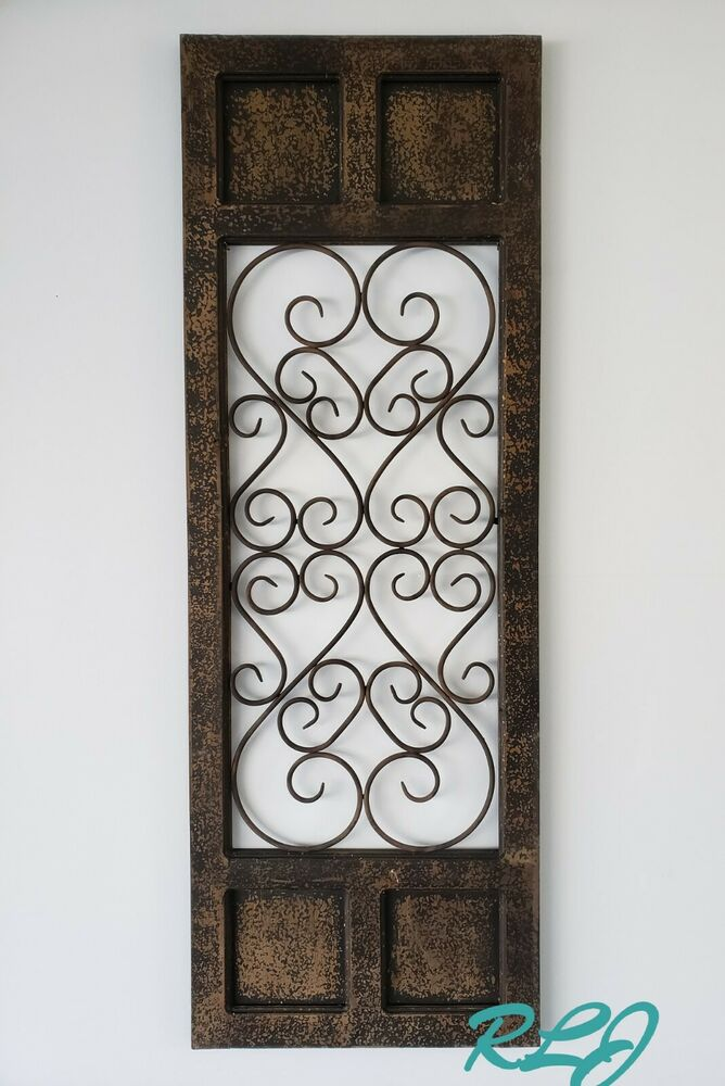 Wooden Gate Wall Decor : Dark brown rustic vintage scrolling wood metal garden gate