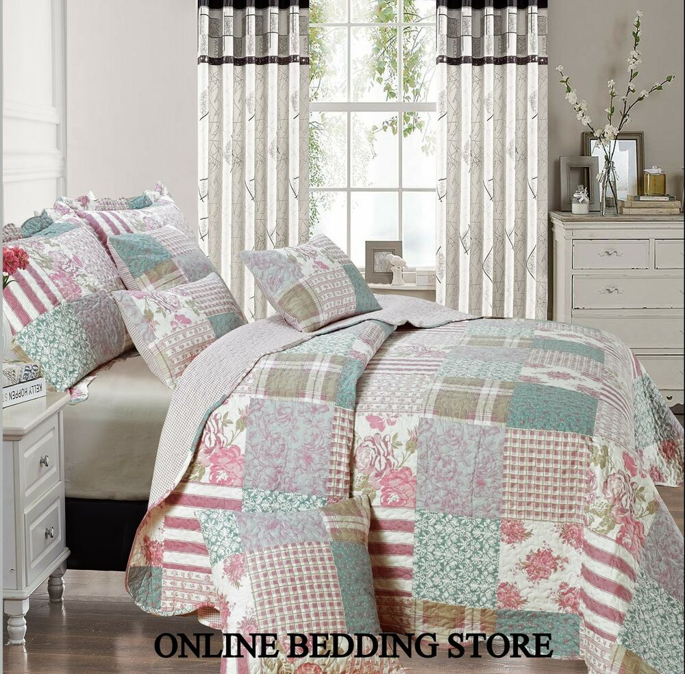 Beautiful floral vintage patchwork blossom quilted for Beautiful bedspreads