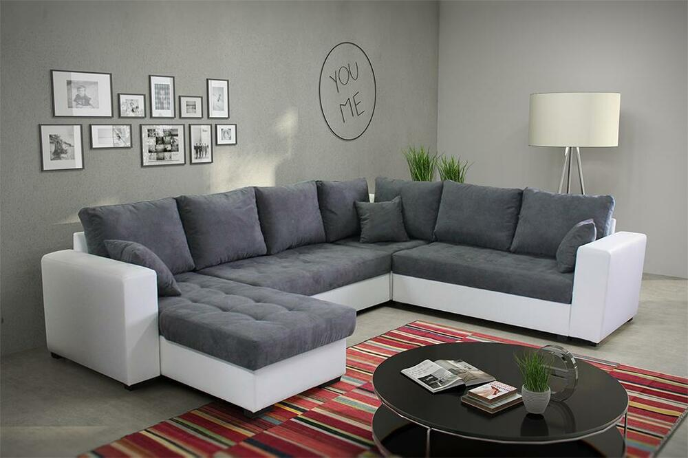 ecksofa liver mit schlaffunktion eckcouch sofagarnitur modern couch 01 ebay. Black Bedroom Furniture Sets. Home Design Ideas