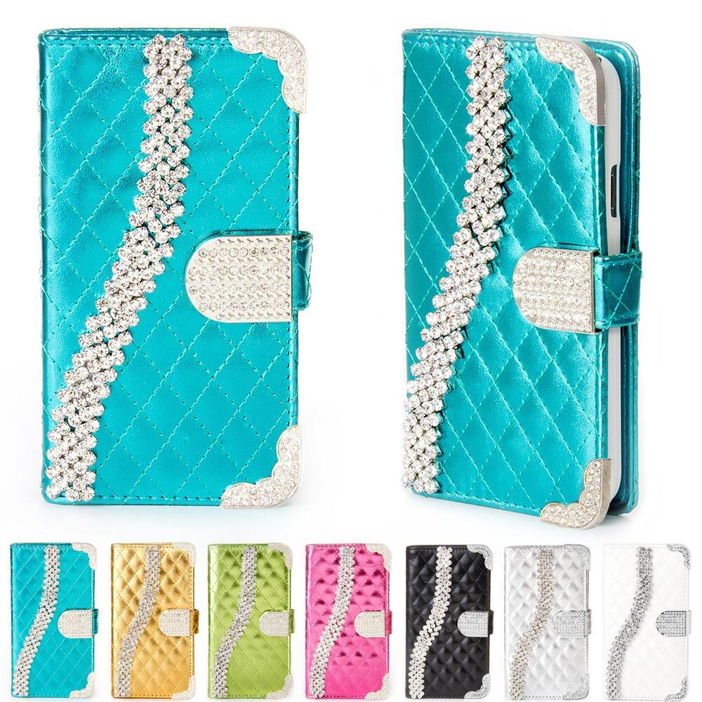 handy tasche strass f r samsung galaxy schutz h lle flip cover case etui wallet ebay. Black Bedroom Furniture Sets. Home Design Ideas