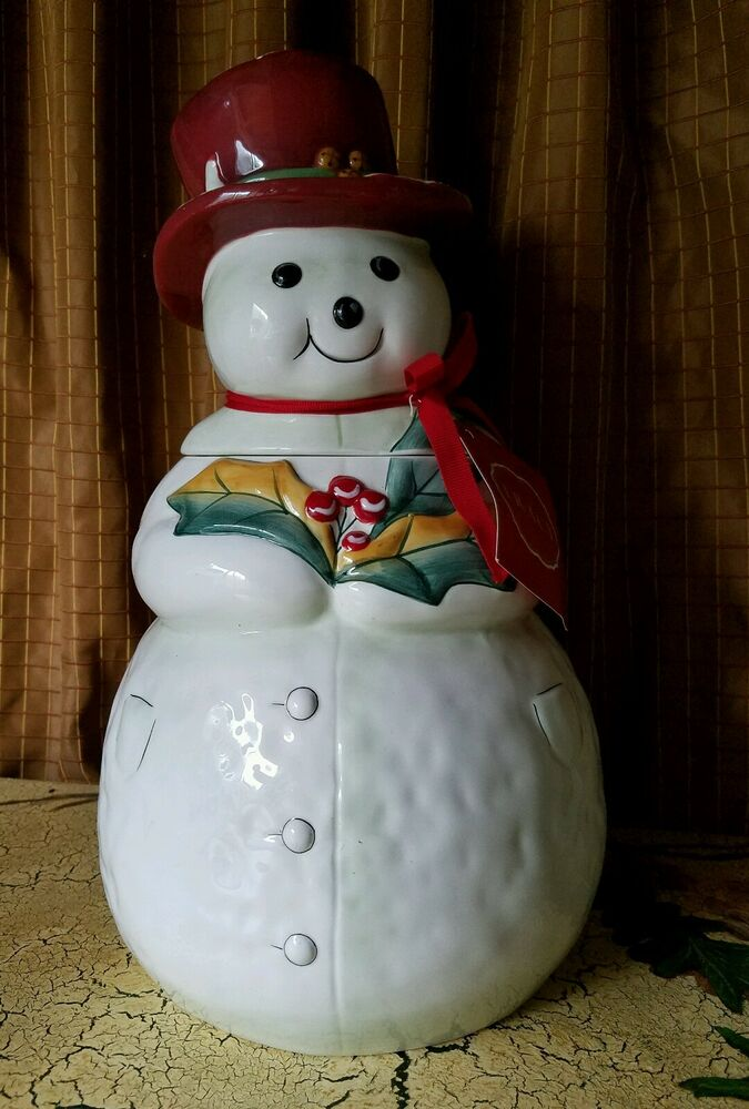 ... Porter Jolly ol snowy A jolly holiday frosty cookie jar new | eBay