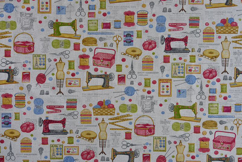 Sewing Themed Fabric Quality Upholstery Curtain Cotton