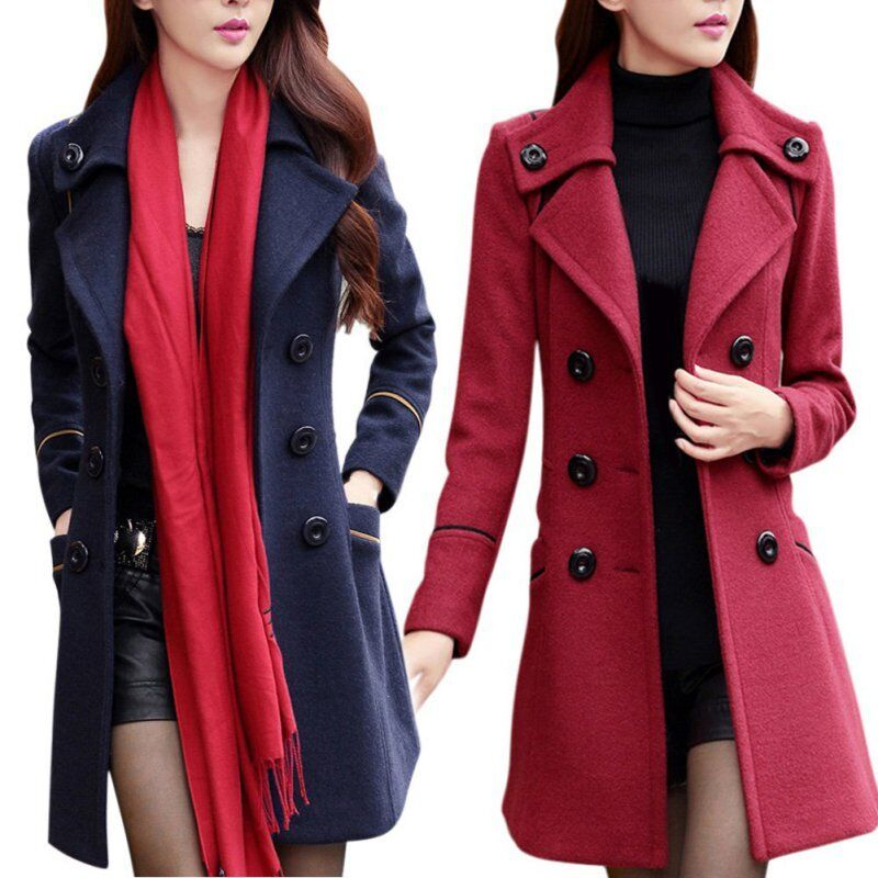 Women S Double Breasted Wool Trench Coat Slim Long Jacket