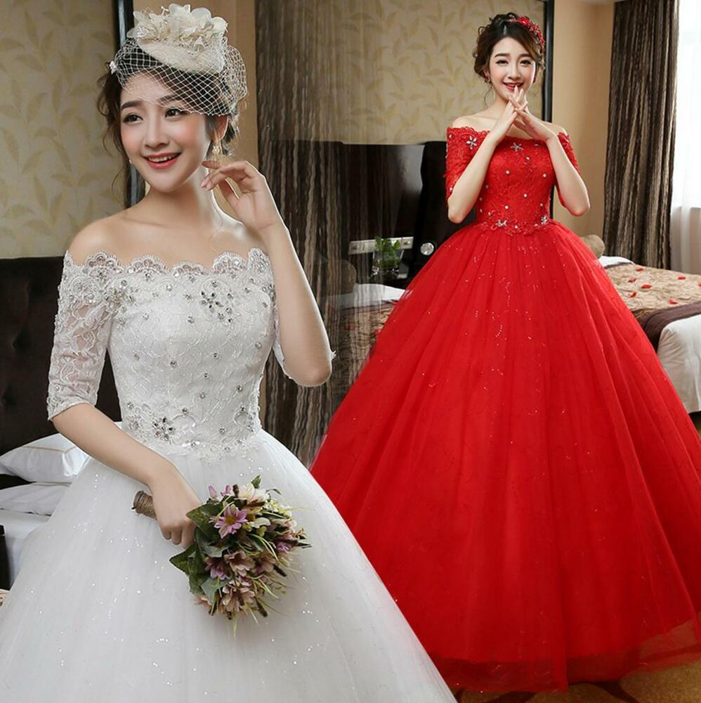 Ball Gown Lace Wedding Dresses: Ivory/Red Off Shoulder Lace Slim Princess Wedding Dresses