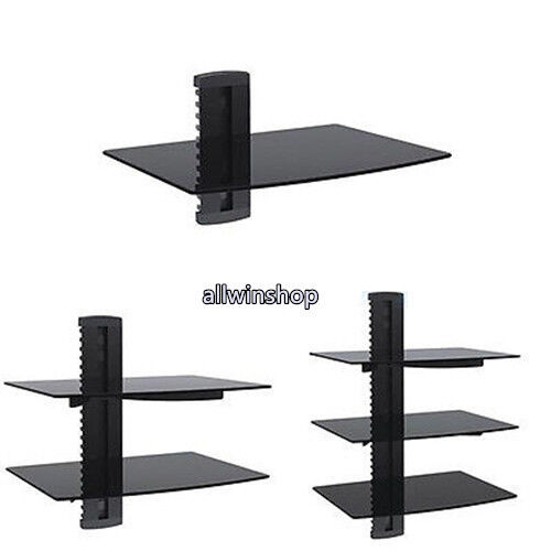 1 3 floating wall mount shelf dvd tv component rack av. Black Bedroom Furniture Sets. Home Design Ideas