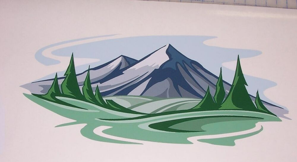 Mountain range scape 2 decal camper rv motorhome mural for Decals for rv mural