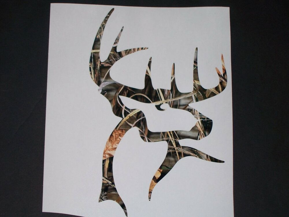 Green Camo Buck Commander Deer Head Window Decal Decals