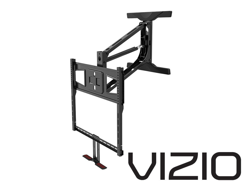Above fireplace pull down full motion vizio tv wall mount for Motorized tv mount over fireplace
