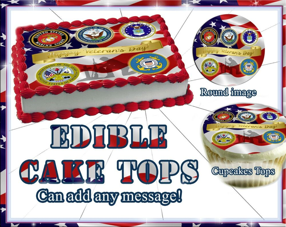 Veterans Day Cake or Cupcakes Topper image SHEET picture ...