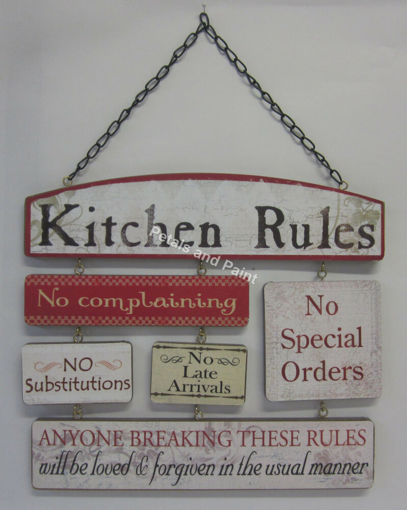 Wooden Wall Sign Kitchen Rules No Complaining No Special Orders No Late  Arrivals | EBay