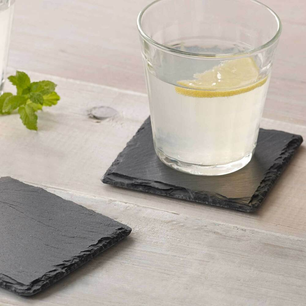 natural slate coasters coffee table mug drinks cup mat coaster ebay. Black Bedroom Furniture Sets. Home Design Ideas