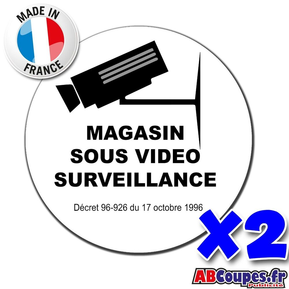 2 stickers autocollants magasin sous vid o surveillance boutique commerce p022 ebay. Black Bedroom Furniture Sets. Home Design Ideas