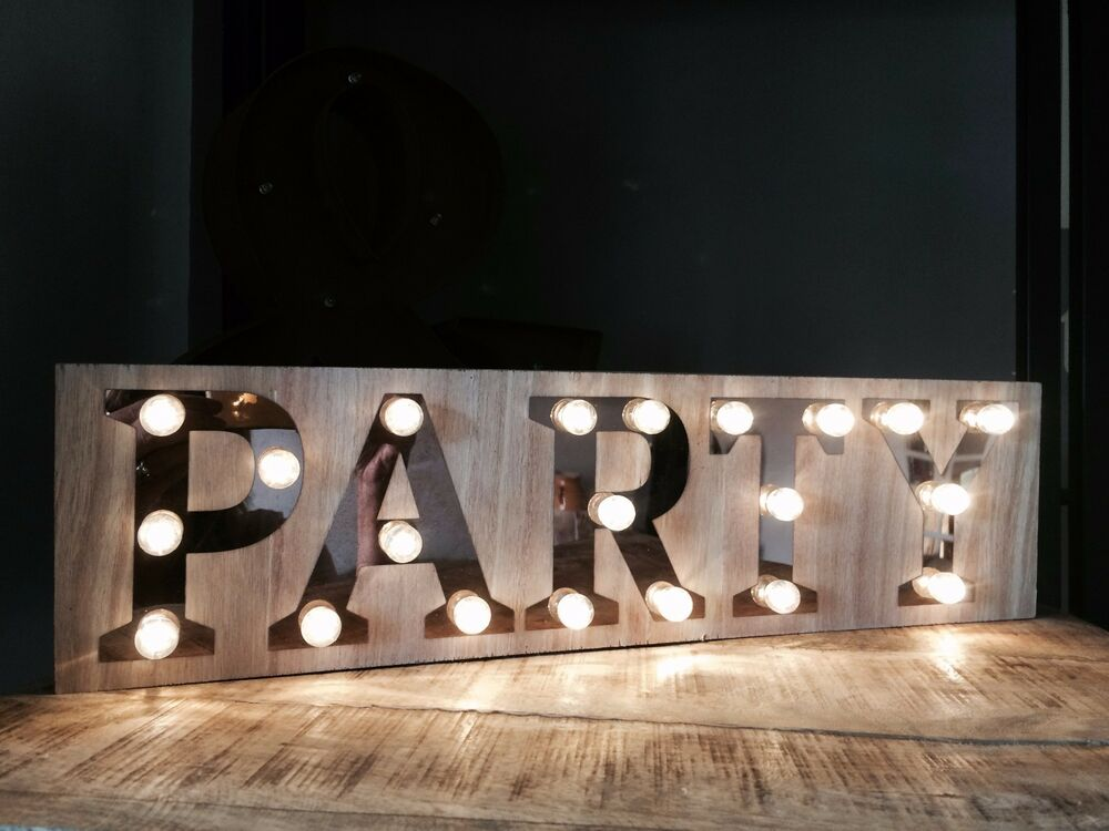 Party wooden light up sign carnival display plaque vintage