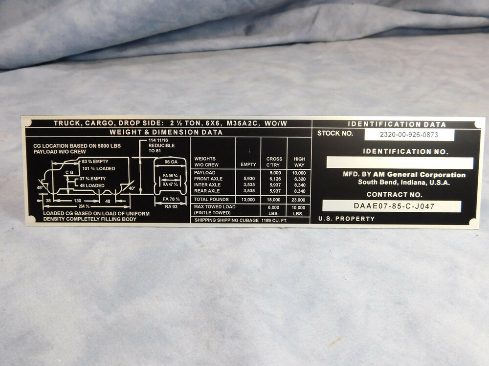 M35a2 Data Plate Am General M35a2c Wow Wieght And Dimension