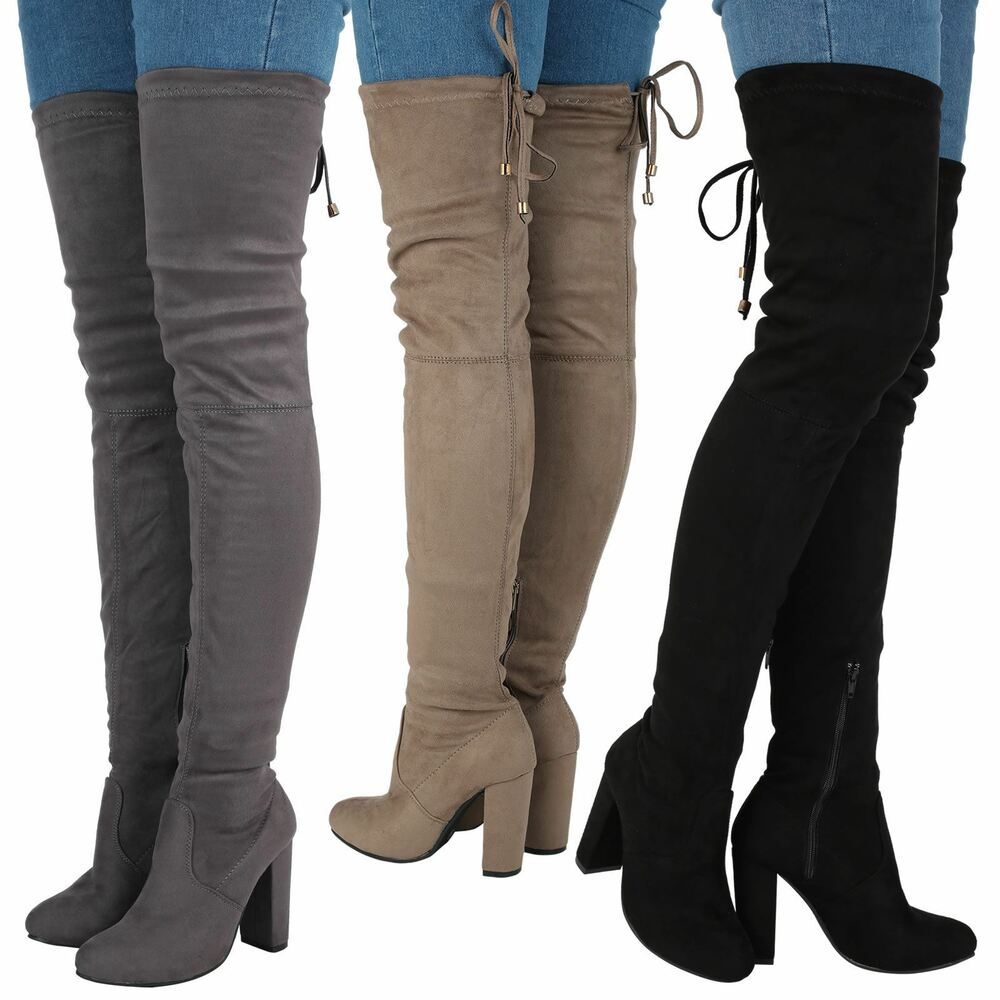 Jazz Womens Mid High Block Heel Over Knee Tie Top Boots ...