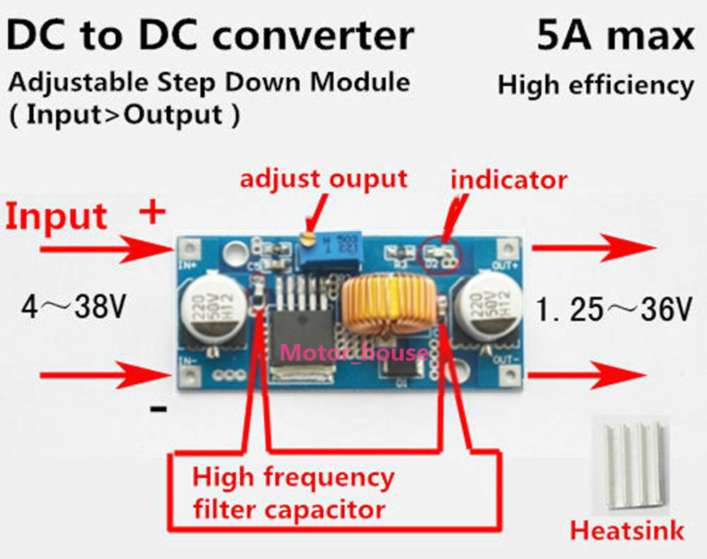 5a Dc Dc Buck Step Down Voltage Regulator 5v 36v To 3 3v