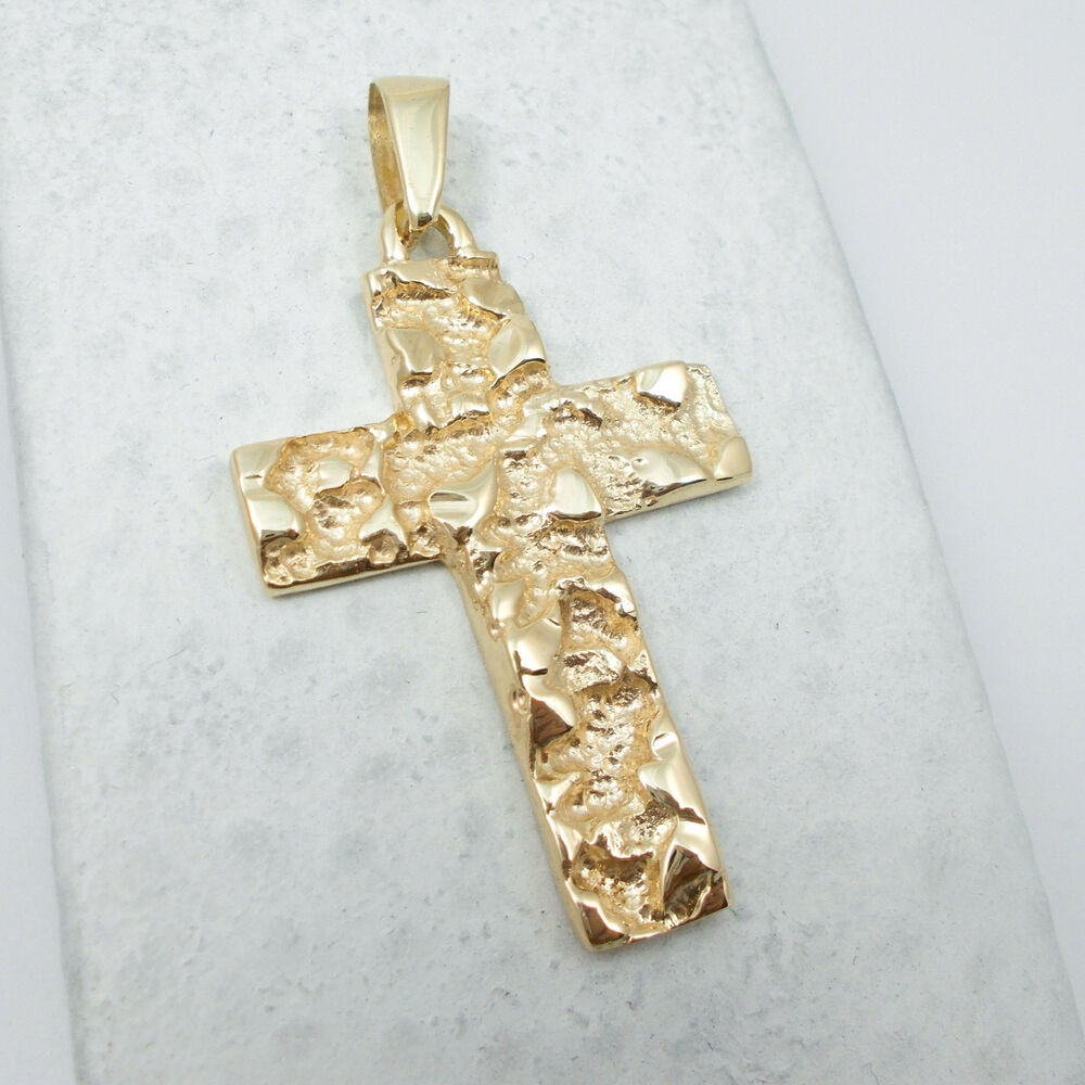 new solid 14k yellow gold mens nugget cross crucifix. Black Bedroom Furniture Sets. Home Design Ideas