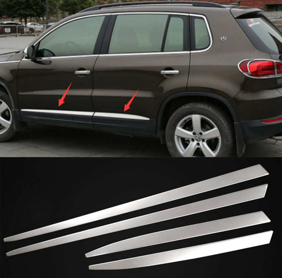 Stainless 4pcs Body Side Door Molding Protector Trim For