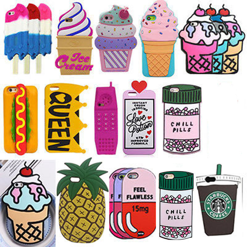 3d cartoon starbucks ice cream silicone phone case for for 3d decoration for phone cases