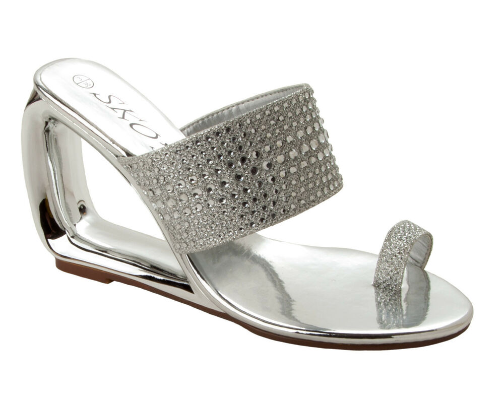 Womens Silver Diamante Wedding Party Evening Wedge Sandals