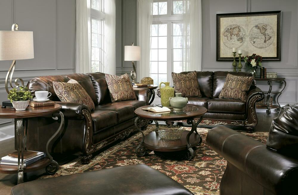 ashley vanceton living room set 3pcs in antique traditional style
