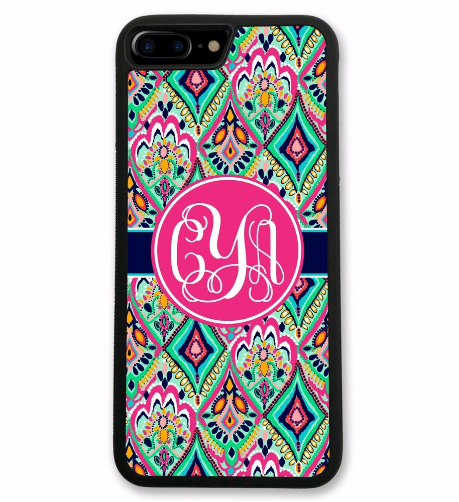 Monogrammed Floral Jewels iPhone 7 Case, Hard Rubber iPhone 7 Plus ...