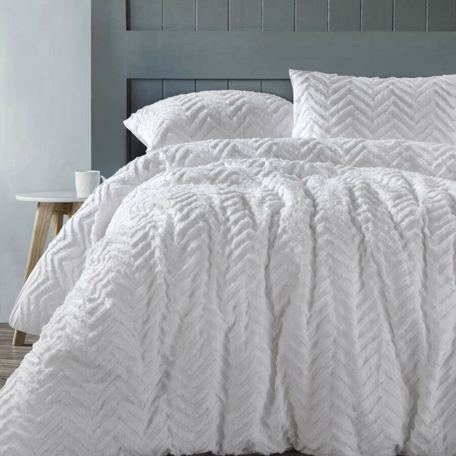 Chevron White 100 Cotton Chenille Quilt Doona Cover Set