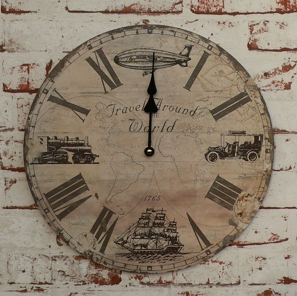 uhr wanduhr oldtimer selgelschiff zeppelin dampflok weltkarte holz steampunk neu ebay. Black Bedroom Furniture Sets. Home Design Ideas