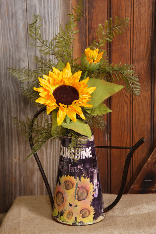 Primitive Country SUNFLOWER WATERING CAN Vase Bucket ...