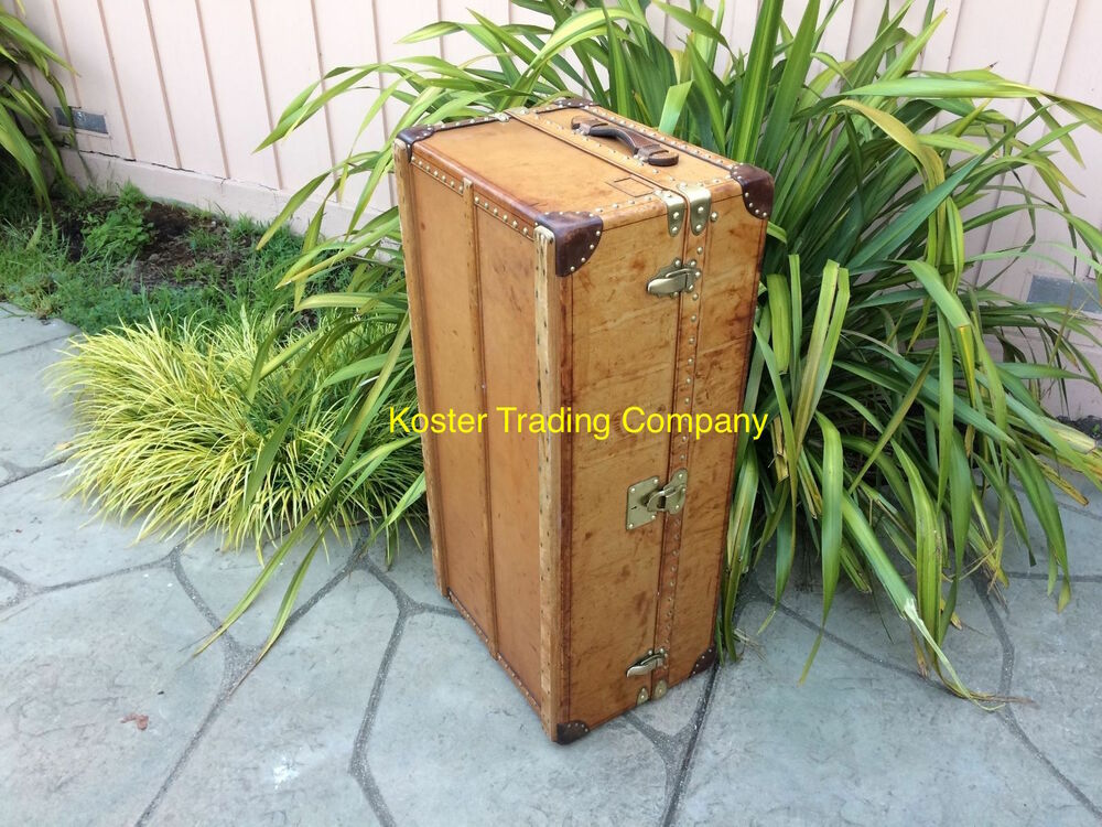 Antique Trunks And Chests ~ Louis vuitton antique leather travel wardrobe steamer
