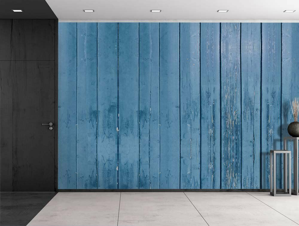 Blue Wooden Fence Panels Wall Mural Removable Sticker