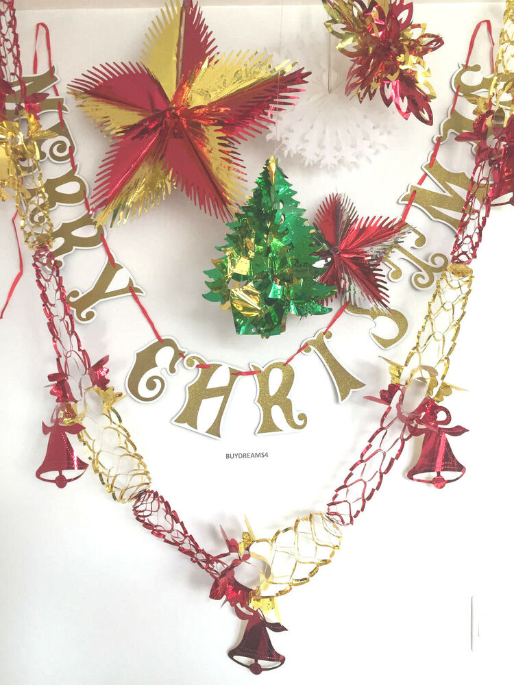 Christmas foil ceiling hanging bunting decoration xmas for Christmas ceiling decorations