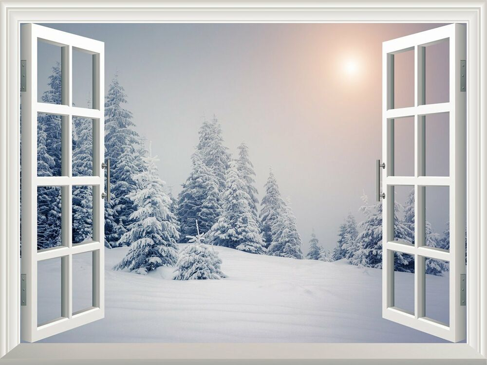 Wall mural pine trees covered by white snow out of the for Door mural decals