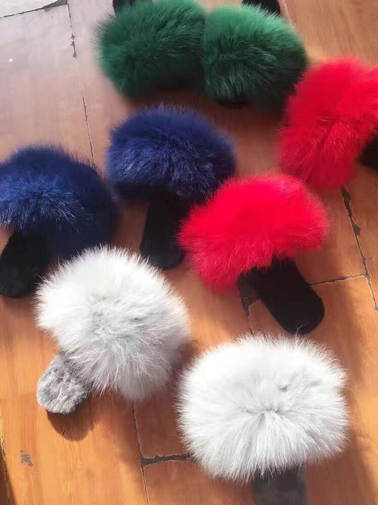 Winter Big Fluffy Plushed Fox Fur Soft Slippers Luxury Big