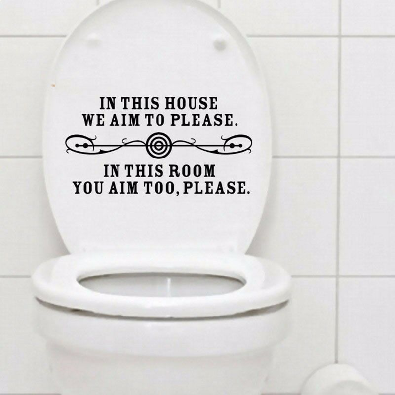 Funny We Aim To Please Quote Toilet Seat Sticker Decal For Cool Bathroom Decor