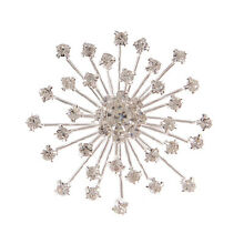 Wholesale Bulk Lot 6 Christmas Clear Rhinestone Snowflake Silver Tone Brooches