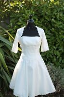 10,12,16 Short Knee Tea Vintage 50s Style Informal Wedding Bridal Dress Gown Jkt