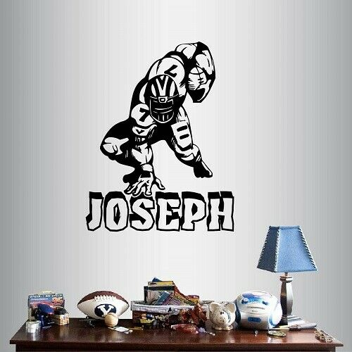 Vinyl decal wall sticker football player boy kids children for Sports decals for kids rooms