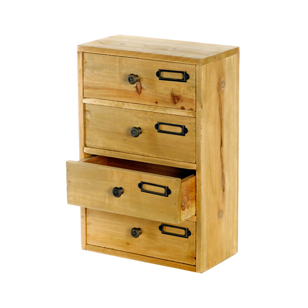Shabby chic home office drawers wood storage desk - Desk organizer drawers ...