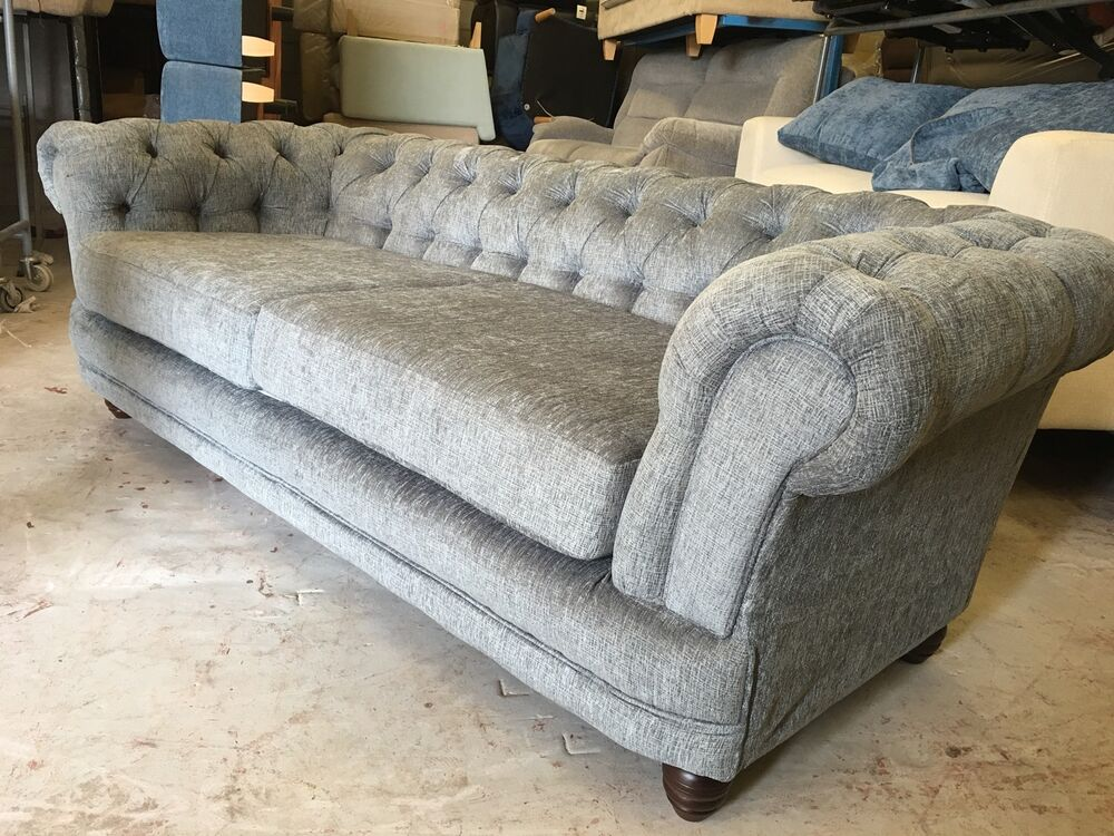 fabric chesterfield sofas 3 seater 2 seater included next grey ebay. Black Bedroom Furniture Sets. Home Design Ideas