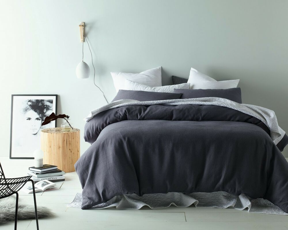 Slate Grey Linen Cotton Waffle Quilt Doona Cover Set