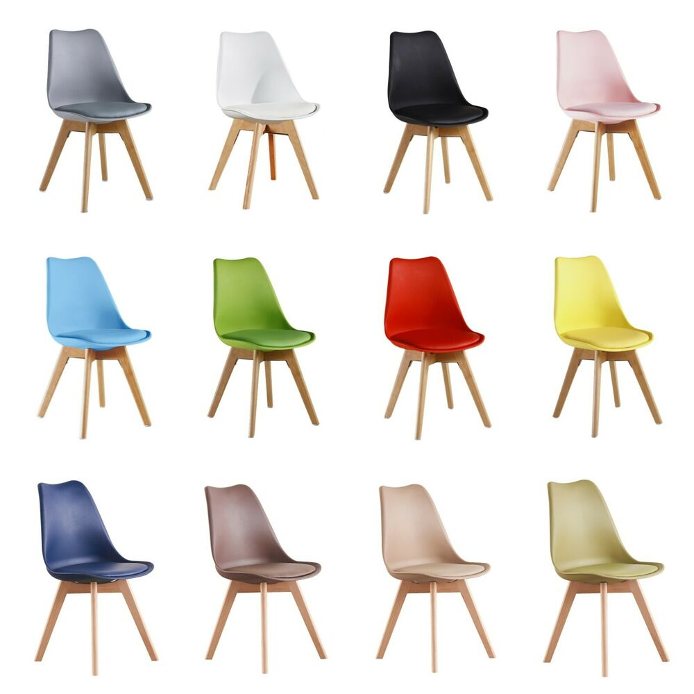 tulip lorenzo dining chair eiffel inspired solid wood abs plastic padded seat ebay. Black Bedroom Furniture Sets. Home Design Ideas