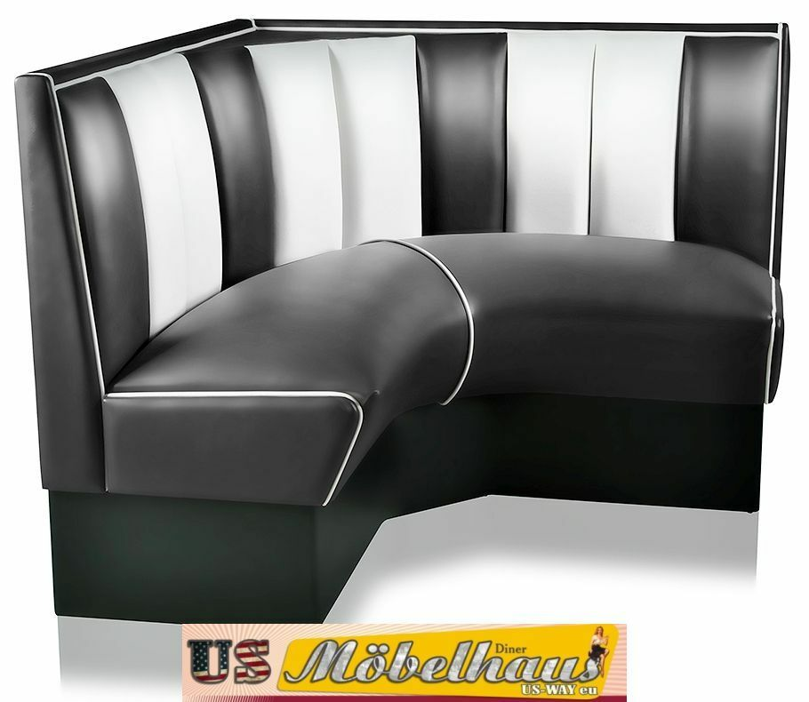 hw 120 120 b amerikanische m bel dinerbank eckbank diner retro usa gastronomie ebay. Black Bedroom Furniture Sets. Home Design Ideas