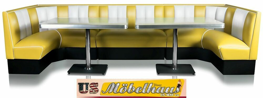 hw 120 360 y amerikanische m bel dinerbank eckbank diner retro usa gastronomie ebay. Black Bedroom Furniture Sets. Home Design Ideas