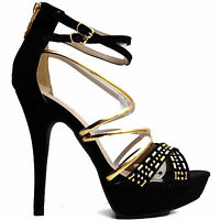 Neu SeXy Luxus Pumps Damen Schuhe Party High Heels Stiletto Sandaletten Schwarz