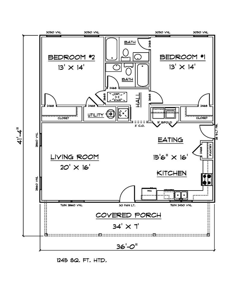House plans for 1245 sq ft 2 bedroom 2 bath house ebay for 28x36 cabin plans